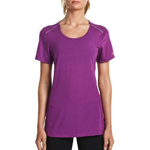 Womens Saucony Freedom Short Sleeve Technical Tops - Dahlia 1X