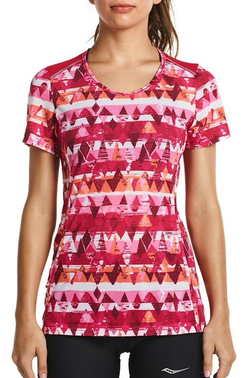 Womens Saucony Freedom Short Sleeve Technical Tops - Raspberry M
