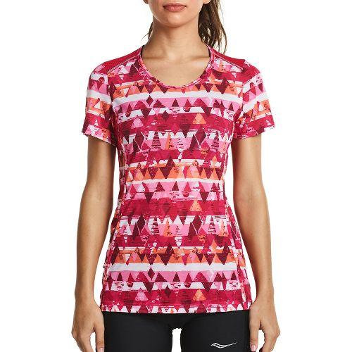 Womens Saucony Freedom Short Sleeve Technical Tops - Raspberry XL