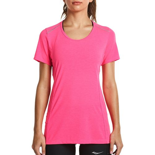 Womens Saucony Freedom Short Sleeve Technical Tops - VIZiPRO Pink XL