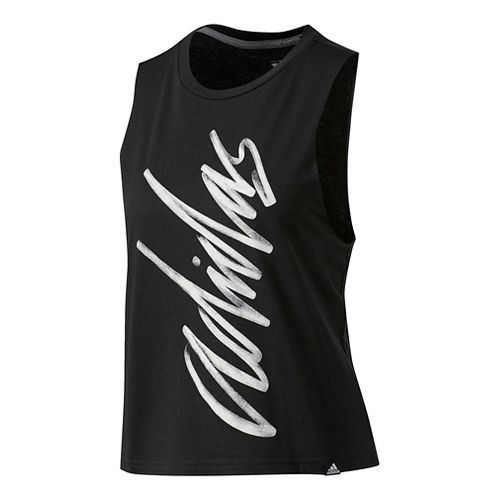 Womens Adidas Adi Script Muscle Sleeveless & Tank Tops Technical Tops - Black/White S