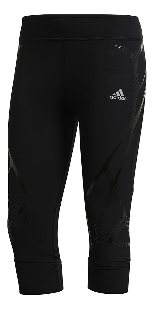 Womens Adidas Adizero Sprintweb Three-Quarter Crop Tights - Black L