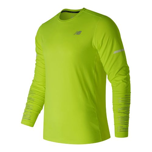 Mens New Balance Viz Long Sleeve Technical Tops - Hi-Lite L