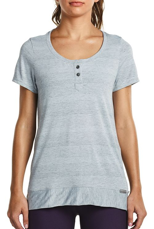 Womens Saucony Lighthearted Short Sleeve Technical Tops - Heather Grey M