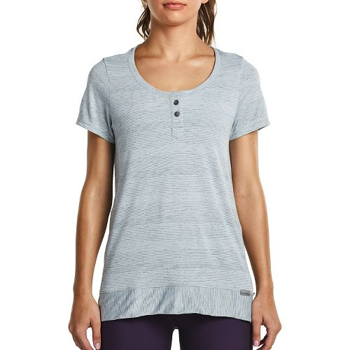 Womens Saucony Lighthearted Short Sleeve Technical Tops - Heather Grey L