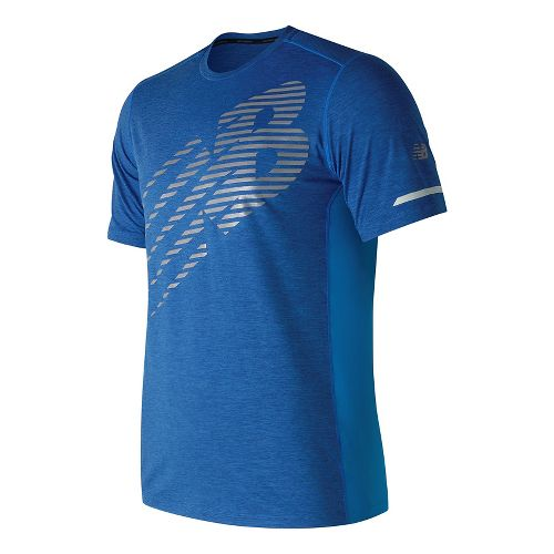 Mens New Balance Viz Short Sleeve Technical Tops - Electric Blue M