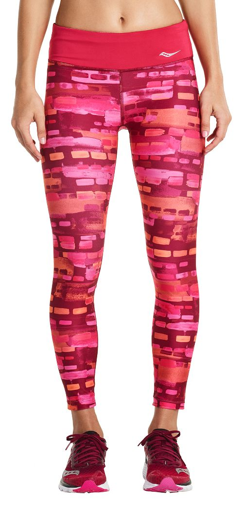 Womens Saucony Scoot Crop Tights - Red Wine L