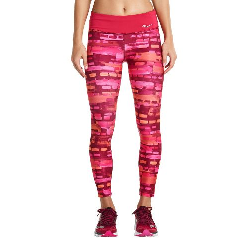 Womens Saucony Scoot Crop Tights - Red Wine XL