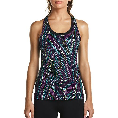 Womens Saucony Strider Sleeveless & Tank Tops Technical Tops - Black Multi M