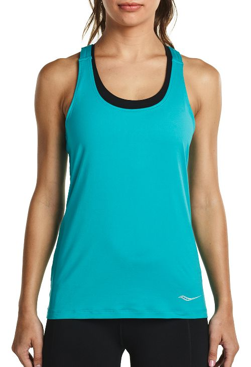 Womens Saucony Strider Sleeveless & Tank Tops Technical Tops - Barbados S