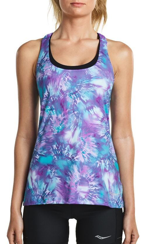 Womens Saucony Strider Sleeveless & Tank Tops Technical Tops - Dahlia Tie Dye L