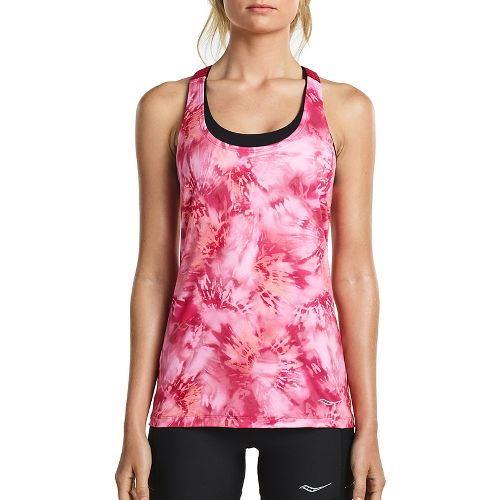 Womens Saucony Strider Sleeveless & Tank Tops Technical Tops - Raspberry L