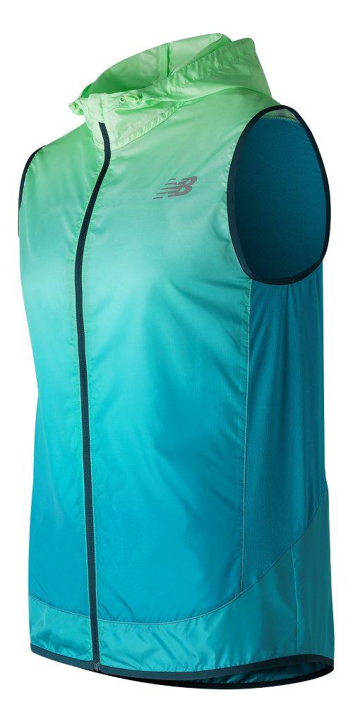 Mens New Balance Fun Run Vests Jackets - Agave Green Print L