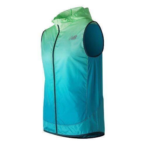 Mens New Balance Fun Run Vests Jackets - Agave Green Print S