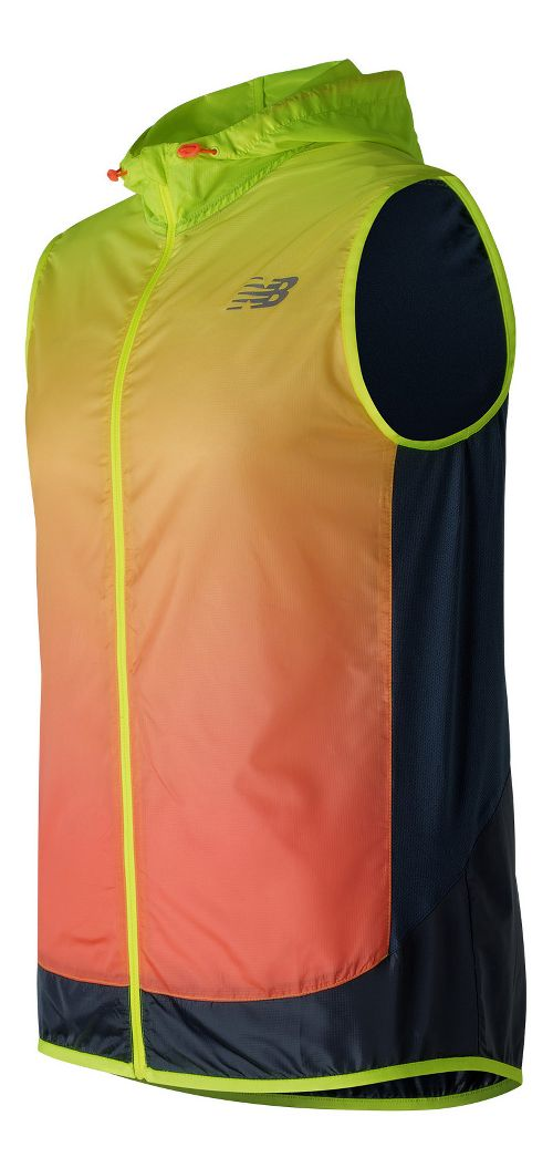 Mens New Balance Fun Run Vests Jackets - Hi-Lite Print S