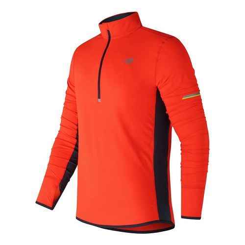 Mens New Balance Impact Half-Zips & Hoodies Technical Tops - Alpha Orange S