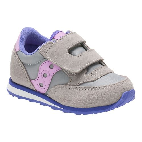 Kids Saucony Baby Jazz Hook and Loop Casual Shoe - Grey/Periwinkle 5C