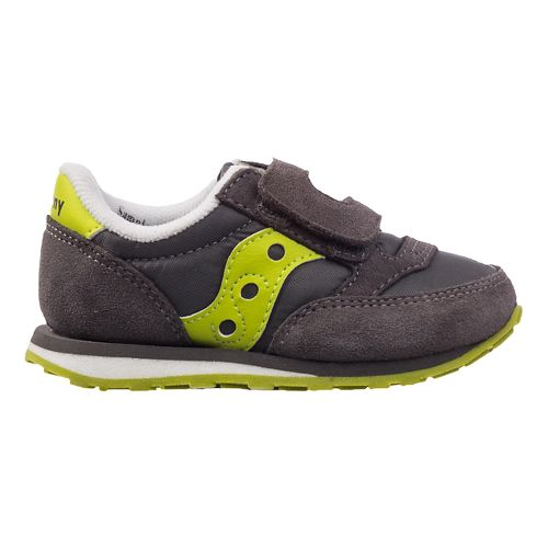 Kids Saucony Baby Jazz Hook and Loop Casual Shoe - Grey/Citron 10.5C