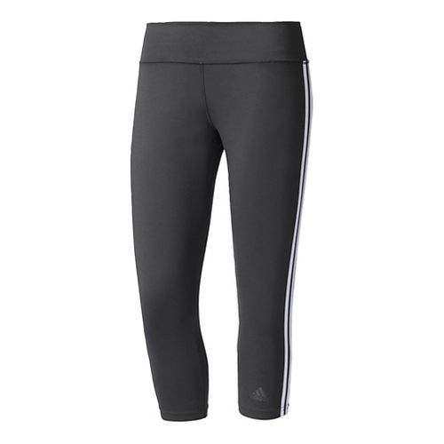 Womens Adidas D2M 3-Stripes Three-Quarter Crop Tights - Black/White S