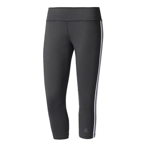 Womens Adidas D2M 3-Stripes Three-Quarter Crop Tights - Black/White XL