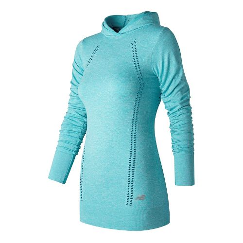 Womens New Balance M4M Seamless Layer Long Sleeve Technical Tops - Blue Heather M