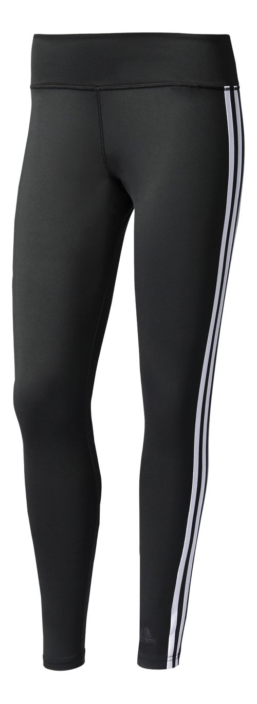 Womens adidas D2M 3-Stripes Long Compression Tights - Black/White M
