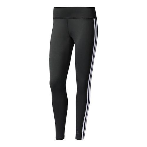 Womens Adidas D2M 3-Stripes Long Compression Tights - Black/White L