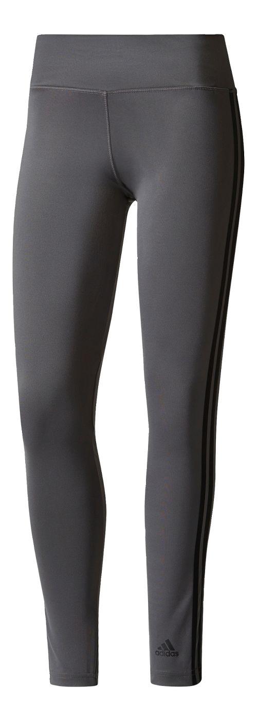 Womens adidas D2M 3-Stripes Long Compression Tights - Grey Five/Black M