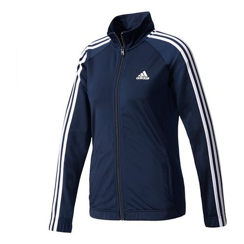 Womens Adidas Designed-2-Move Track Long Sleeve Technical Tops - Navy/White L
