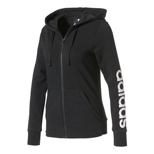 Womens Adidas Essential Linear Full-Zip Casual Jackets - Black/White XXL