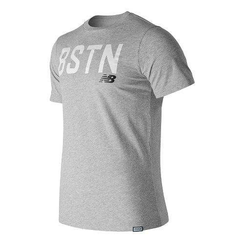 Mens New Balance Boston Graphic Tee Short Sleeve Technical Tops - Athletic Grey L