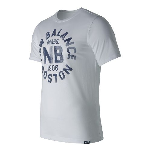 Mens New Balance Boston Tee Short Sleeve Technical Tops - White M