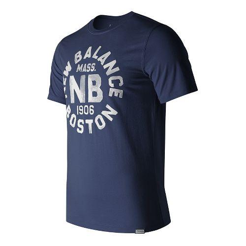 Mens New Balance Boston Tee Short Sleeve Technical Tops - Navy L