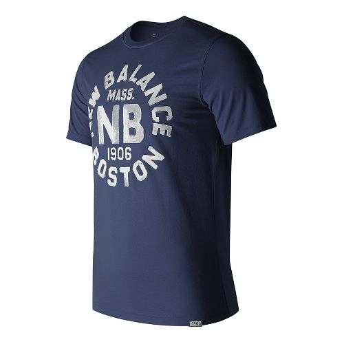 Mens New Balance Boston Tee Short Sleeve Technical Tops - Navy M