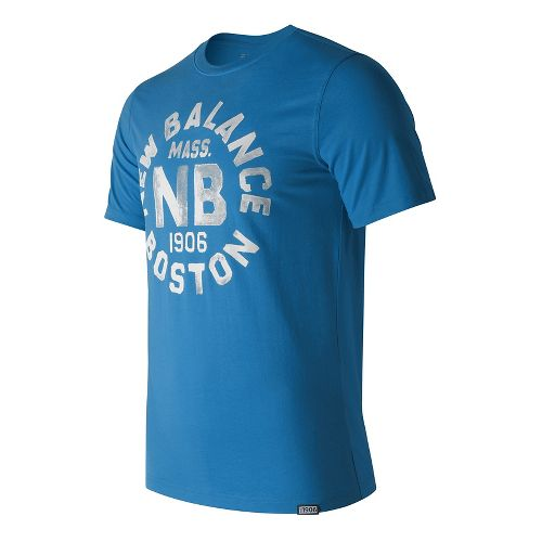 Mens New Balance Boston Tee Short Sleeve Technical Tops - Helium S