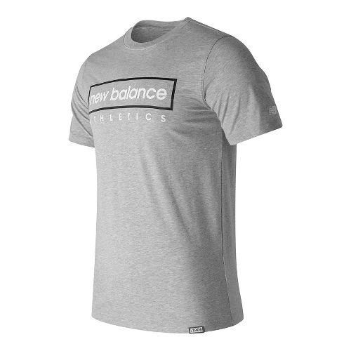 Mens New Balance Box Tee Short Sleeve Technical Tops - Athletic Grey L