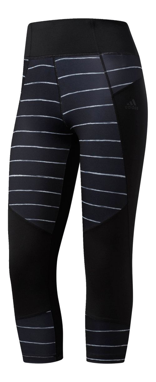 Womens Adidas Performer High-Rise Oxidized Stripe Crop Tights - Black S