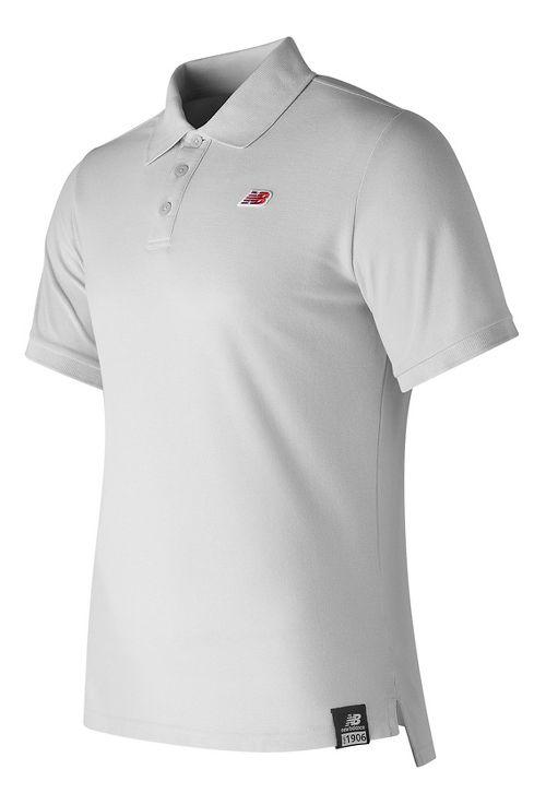 Mens New Balance Cotton Pique Polo Short Sleeve Technical Tops - White S