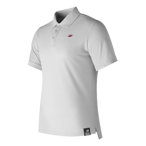 Mens New Balance Cotton Pique Polo Short Sleeve Technical Tops - White XL