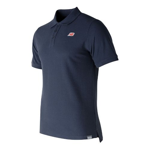 Mens New Balance Cotton Pique Polo Short Sleeve Technical Tops - Navy L