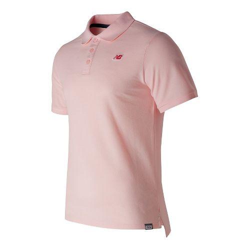 Mens New Balance Cotton Pique Polo Short Sleeve Technical Tops - Sunrise Glow M