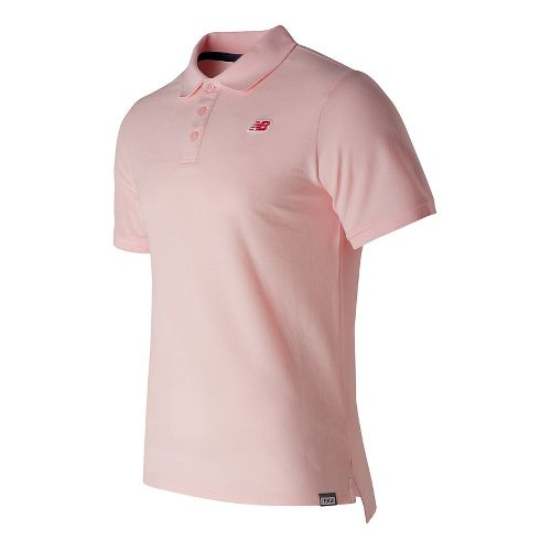 Mens New Balance Cotton Pique Polo Short Sleeve Technical Tops - Sunrise Glow XXL