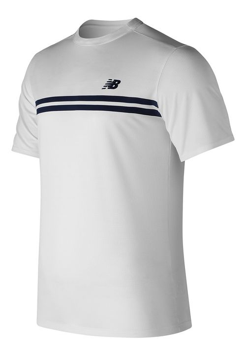 Mens New Balance Court Crew Short Sleeve Technical Tops - White XL