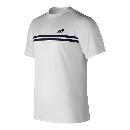 Mens New Balance Court Crew Short Sleeve Technical Tops - White M
