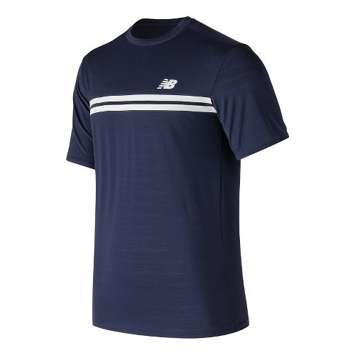 Mens New Balance Court Crew Short Sleeve Technical Tops - Pigment S