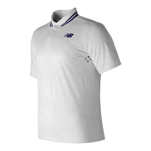 Mens New Balance English Rose Polo Short Sleeve Technical Tops - White S