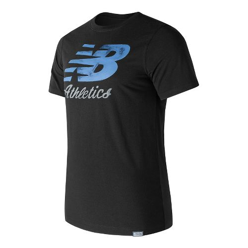 Mens New Balance Flying Script Tee Short Sleeve Technical Tops - Black M