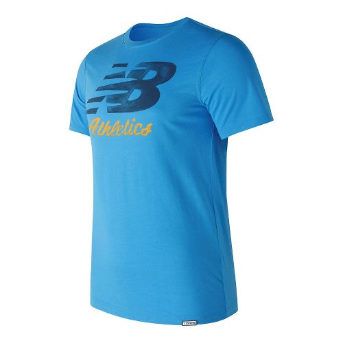 Mens New Balance Flying Script Tee Short Sleeve Technical Tops - Helium M