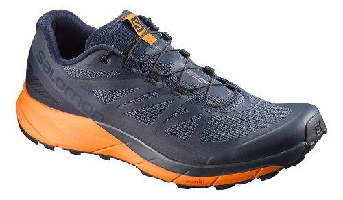 Mens Salomon Sense Ride Trail Running Shoe - Navy/Orange 8