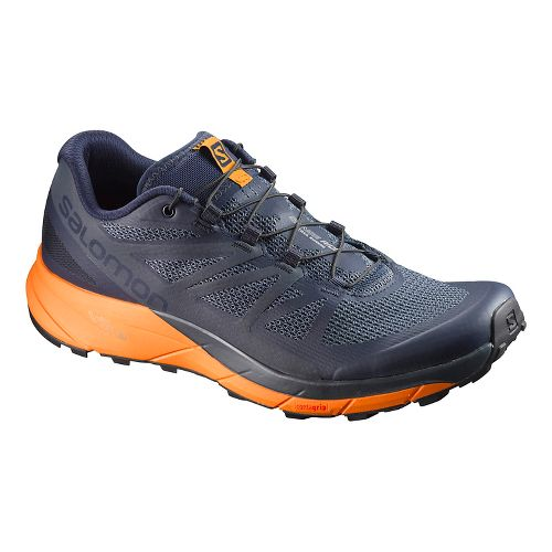 Mens Salomon Sense Ride Trail Running Shoe - Navy/Orange 10.5